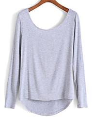T-Shirt Da donna Con fiocco/Schiena scoperta Rotonda Manica lunga Cotone