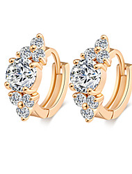 Earring Hoop Earrings Jewelry Women Brass / Cubic Zirconia 2pcs Gold