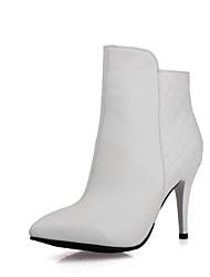 Zapatos de mujer Semicuero Tacón Stiletto Puntiagudos Botas Casual Negro/Blanco