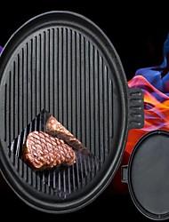 fundido estufa de utensilios de cocina de hierro doble quemador 2 lado sartén plancha