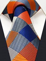 M17  Men Neckties Navy Multicolor Checked 100% Silk Dress Casual For Men