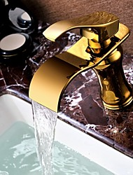 Shengbaier Bathroom Sink Faucet Contemporary Design Waterfall  (Ti-PVD Finish)
