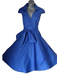 Women's V-Neck Bandage Dress , Cotton Blend Vintage/Bodycon/Casual/Party/Work Short Sleeve VERYM