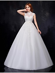Ball Gown Wedding Dress - White Floor-length High Neck Organza