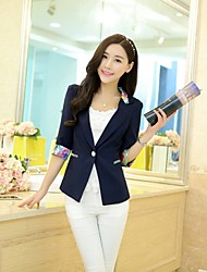 Women's Solid Blue/Red/Black/Yellow/Purple Blazer , Work Shirt Collar ¾ Sleeve