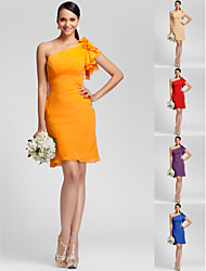 Knee-length Chiffon Bridesmaid Dress - Orange / Royal Blue / Ruby / Champagne / Grape Plus Sizes / Petite Sheath/Column One Shoulder