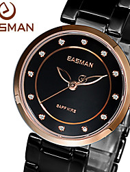 EASMAN® Brand Women Ceramic Watch Black Quartz Watch Fashion Casual Rose Gold Case 12 Jewel For Ladies Women Wristwatches Cool Watches Unique Watches