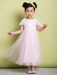 A-line Ankle-length Flower Girl Dress - Lace / Tulle Short Sleeve Jewel with Lace