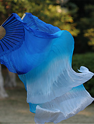 Hot Belly Dance Real Silk Fan Veils Silk Fabric Blue/Sky Blue/White 2pcs/L+R
