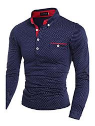 Men's Long Sleeve Polo , Cotton Casual Plaids & Checks