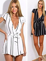 Women's V-Neck Jumpsuit , Polyester Sexy/Casual Short Sleeve summer