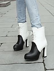 Women's Shoes Blue/White/Wine Chunky Heel 10-12cm Boots (PU)