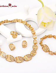 WesternRain Classic Collar Costume Jewelry Necklace&Bracelet&Earrings Gold Plated Jewelry Set,Women Jewelry Sets