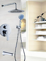 3 Function Round Concealed Shower Faucet Set Wall Mounted Rainfall Shower Head Mixer Tap