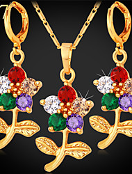 U7® Women's Multicolor Cubic Zirconia Earrings Platinum/18K Gold Plated Flower Necklace 2015 Fashion Jewelry Sets