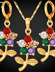 Бижутерия 1 ожерелье 1 пара сережек Цирконий Для вечеринок Позолота 1 комплект Женский Золотой Свадебные подарки