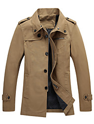 2015 Brand New Men Jackets Asian Size Pure Dark Khaki Color Casual Fashion Men Clothing 108-3 SP001592
