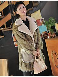 Fur Coats Coats/Jackets Long Sleeve Faux Fur Brown