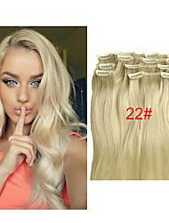 "16""-28"" Virgin Indian Human Hair Clip In Hair Extensions 100g Straight 7pcs/packIndian Virgin Hair"
