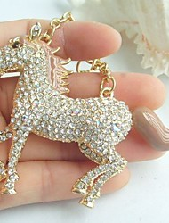Unique Saddlebred Horse Key Chain With Clear Rhinestone Crystals