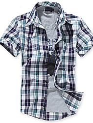 Men's Short Sleeve Shirt  Cotton Casual Formal Plaids & Checks