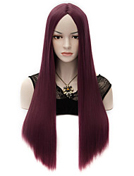 European Style Longl Straight Fashion Women Party Wigs Heat Resist Synhtetic Cosplay costume Wig  Wine Red
