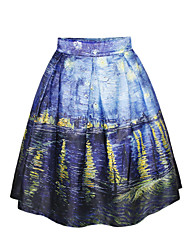 PinkQueen Women's Polyester/Spandex Blue Flowing Water Printed  Pleated Skirt