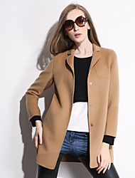 Autumn's new pure hand wool and double side coat woman long hair coat Women's Long Sleeve Wool Coat , Vintage/Sexy/Work