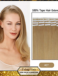 30-50g/pack 16-24inch Indian hair #27 Tape In Human Hair Extensions 004