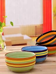 cozinha tigela de cerâmica arco-íris microwavable pintados à mão projetado utilizado (cor aleatória)
