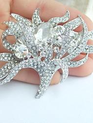 Wedding Silver-tone Clear Rhinestone Crystal Bridal Brooch Wedding Deco Bridal Bouquet Wedding Flower Brooch