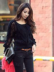Women's Vintage/Casual Long Sleeve Pullover , Knitwear Medium