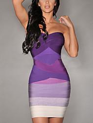 Women's Patchwork Blue/Pink/Black/Purple Dress , Sexy V Neck Sleeveless