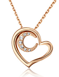 HKTC Elegant Bridal Jewelry 18k Rose Gold Plated Crystal Heart and Moon Pendant Necklace