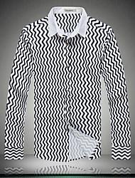 Men's Fashion Stripe Slim Long-Sleeve Shirt