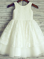 Princess Knee Length Flower Girl Dress - Tulle Sleeveless Scoop Neck with Lace