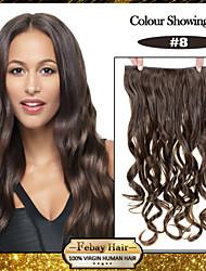 5 clips ondulado castanha (# 8) grampo de cabelo sintético em extensões de cabelo para senhoras mais cores disponíveis