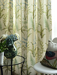 Two Panels Floral Design Print Panel Curtains Drapes