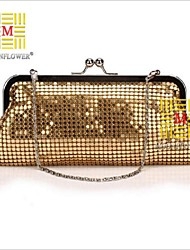 Women 's Metal Fold over Clutch Tote/Evening Bag - Gold/Red/Silver/Black
