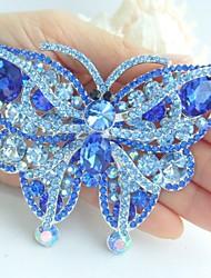 Gorgeous 3.74 Inch Silver-tone Blue Rhinestone Crystal Butterfly Brooch Pendant Wedding Deco