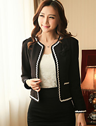Women's Solid White/Black Jackets , Casual Round Neck Long Sleeve Bow/Pocket