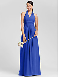 Lanting Bride® Floor-length Chiffon Mini Me Bridesmaid Dress - Sheath / Column Halter / V-neck Plus Size / Petite withDraping / Criss