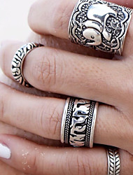 Midi Rings Alloy Flower Fashion Carved Screen Color Jewelry Party 1set