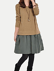 Women's Dresses , Polyester/Viscose Casual/Work Long Sleeve K.M.S