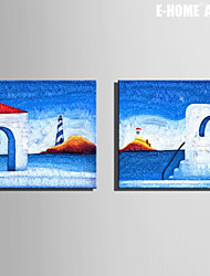 E-HOME® Stretched Canvas Art House On The Island Decorative Painting Set of 2