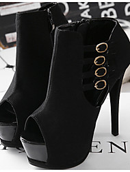 Women's Shoes Synthetic Stiletto Heel Open Toe Sandals Office & Career/Party & Evening/Dress Black/White