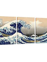 visuelle star®canvas von 3 Die große Welle weg von Kanagawa durch Katsushika Galerie Leinwand Wandkunst gesetzt