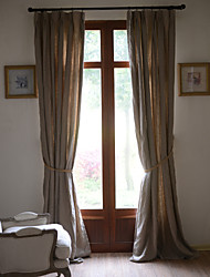 Two Panels 100% Linen Khaki Solid Linen Panel Curtains Drapes