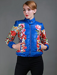 Women's Stand Flower Coats & Jackets , Polyester Bodycon/Casual Long Sleeve BLS
