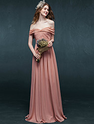 Formal Evening Dress - Elegant A-line Off-the-shoulder Floor-length Chiffon with Pleats